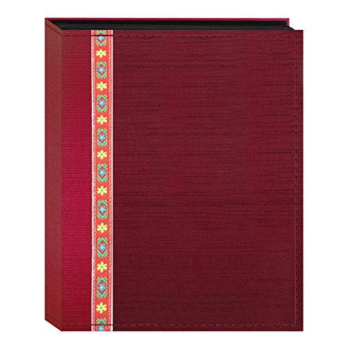 100 Pocket Album - Fabric Ribbon Cover Photo Album 100 Pockets Hold 4x6 Photos, Red