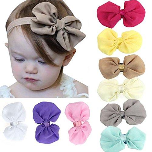 TOPWELL88 mignon Babys Bandeaux filles en mousseline de soie bowknot Bandeau élastique 9PCS