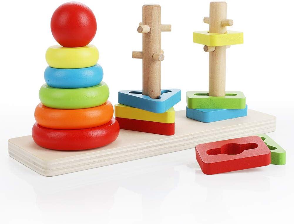 Abree Rainbow Three Column Tower Clasificador de Forma de Madera Juguete Bloques de construcción a Juego Clasificación Juguete de apilamiento para bebés niños(Rainbow Shape)