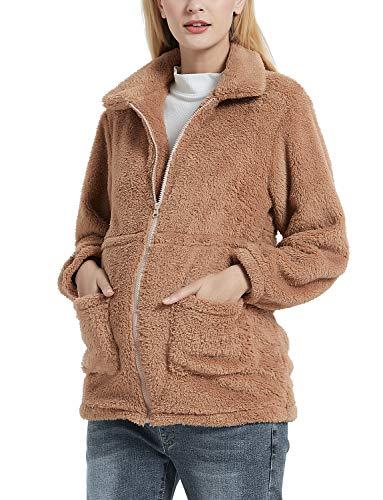 GINKANA Maternity Coat Casual Lapel Fleece Fuzzy Faux Shearling Zipper Warm Winter Oversized Outwear Jackets Khaki