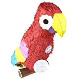 Homeford Colorful Parrot Perched on Wood Pinata, Red, 24-Inch