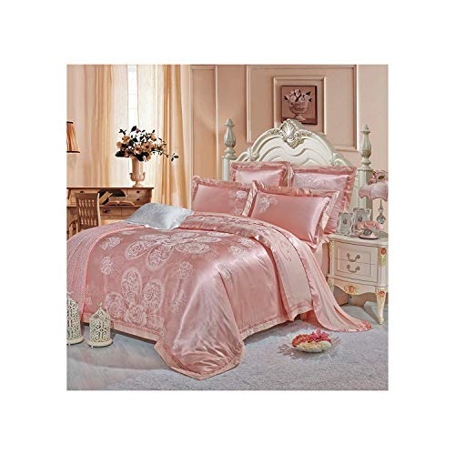 Slowly Mist Wedding Shallow Jade Luxury Satin Jacquard Bedding Sets Embroidery Queen King Size Duvet Cover Bed Sheet Pillow Sham,XF03,King 4pcs ()