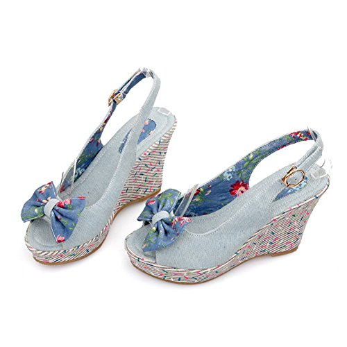 Voguezone009 Womens Open Peep Toes High Heel Wedge Platform Printing Denim Solid Sandals With Bowknot  Lightblue  6 5 B M  Us