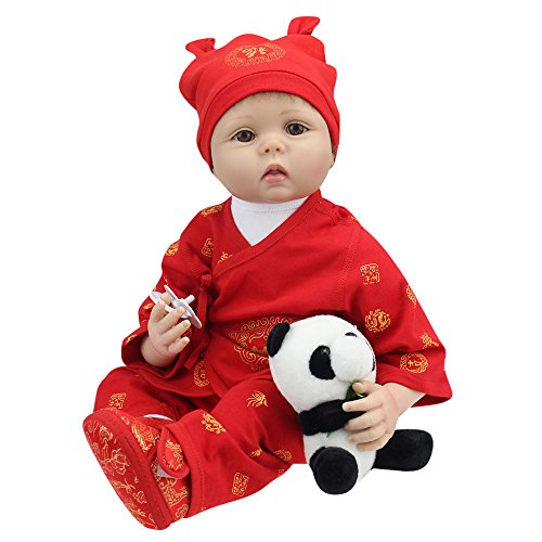 PSFS 22 Inch Lifelike Reborn Doll Sleeping Soft Silicone Full Body Realistic Lucky Girl Doll Vinyl Reallike Newborn Baby Doll Outfits, Kids Gift for Ages 3+,Under 100 Dollars (Red) (Multicolor)