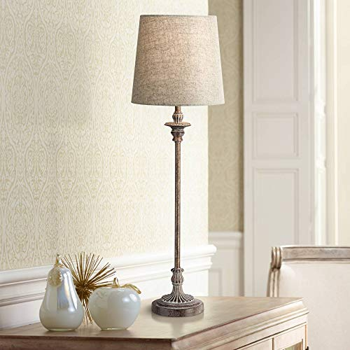 Bentley Traditional Buffet Table Lamp Weathered Brown Linen Fabric Drum Shade for Dining Room - Regency Hill 60 Watt Traditional Buffet Lamp