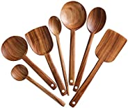 7pcs Long Handle Wooden Cooking Utensil Set Non-stick Pan Kitchen Tool,NAYAHOSE Wooden Cooking Spoons and Spat