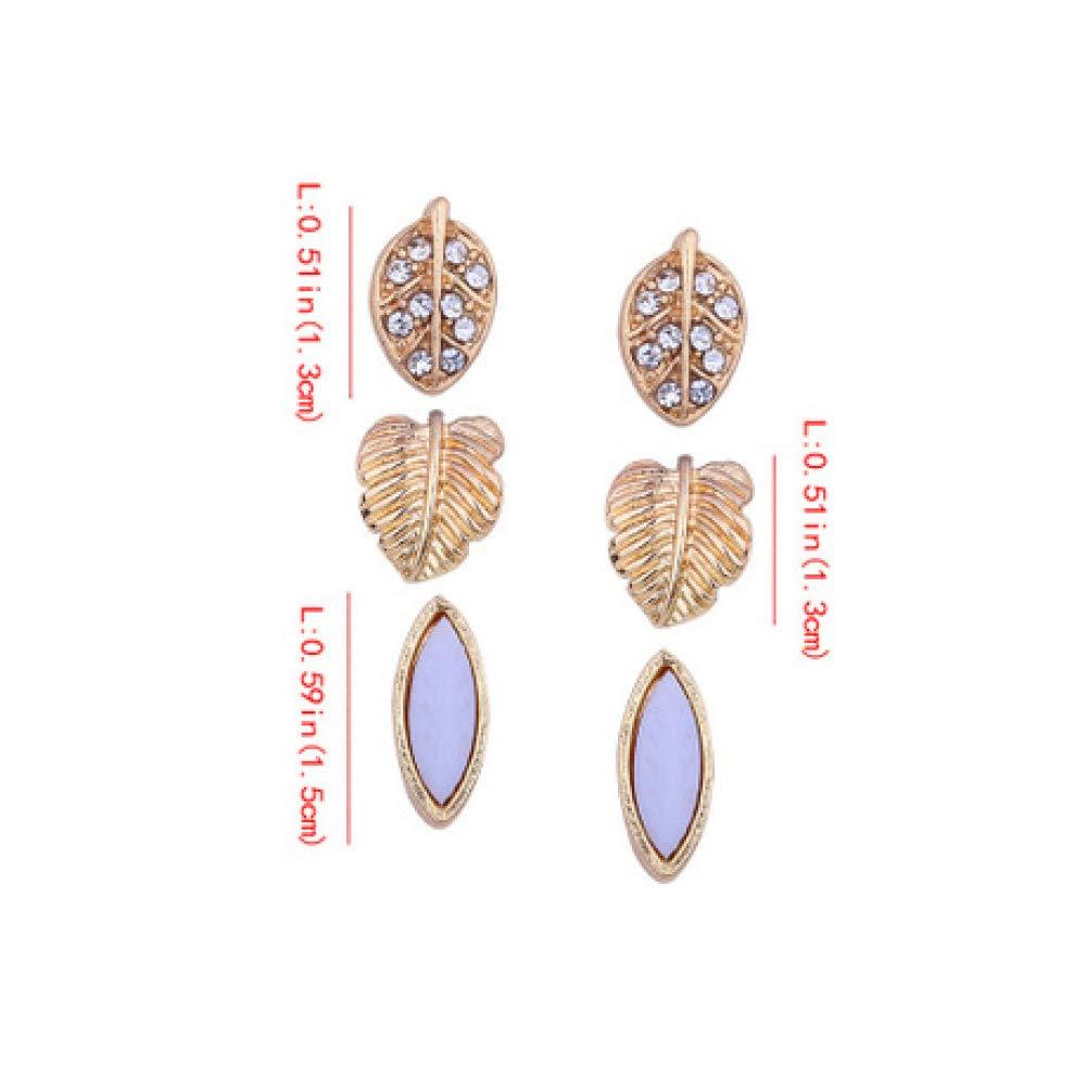Myzixuan Earring Small Earrings Combination Set Girls Multi Style Fashion Elements Diamond Stud Earrings Three-Piece Jewellery Gift