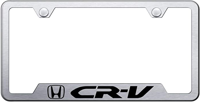 Honda CR-V Black Coated Zinc License Plate Frame Holder wide 4 hole