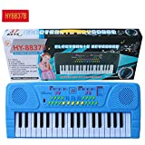 Studyset Children Portable 37 Keys Multifunctional Mini Electronic Piano with Microphone Digital Music Electronic Piano Gift blue