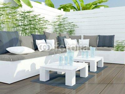 Leinwand 120 x 90 cm Leinwand-Bild 120 x 90 cm   Outdoor patio seating area. , Bild auf Leinwand