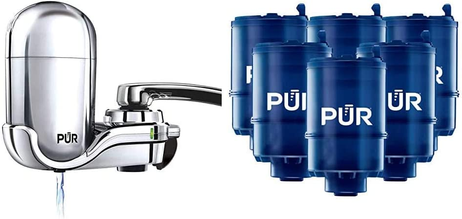 PUR FM-3700 Advanced Faucet Water Filter, Chrome & RF9999 MineralClear Faucet Water Filter Replacement for Filtration Systems, 6 Pack, 6 Count - -