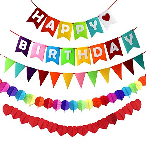 Happy Birthday Streamer (JUSLIN Happy Birthday Decorations Banner Pennant Flag and 2 Paper Garlands for Birthday Party Decorations)