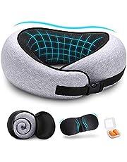 DYD Reisekissen 100% reines Memory Foam Nackenkissen - aufgerüstet ergonomisches Design 360 °Vollhals Kinnstütze, bequemer & atmungsaktiver Bezug, ultraweiches Reisekit mit 3D Augenmasken, Ohrstöpsel …