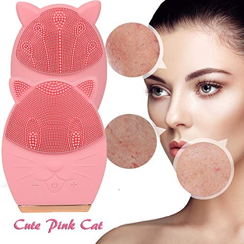 Electric Ultrasonic 2 Side Face Cleaning Brush Cute Cat Deep Vibration Brushes Care for Pore All Face Skin Type Cleaner Instrument(Cat ()