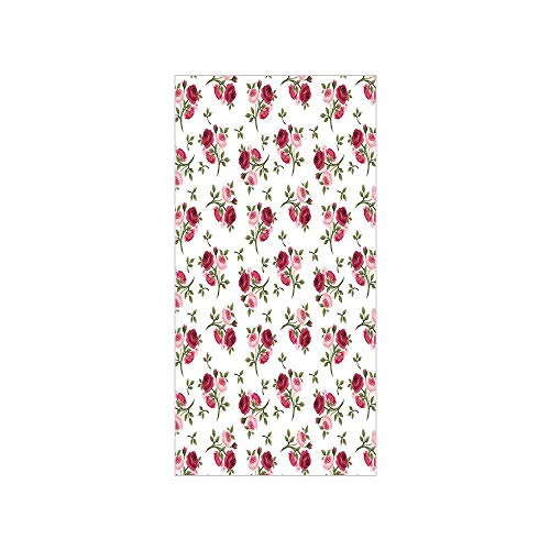 3D Decorative Film Privacy Window Film No Glue,Roses Decorations,Pattern with Rose Stems Flowers Garden Classic English Style Design Repeat Art Decorative,for Home&Office