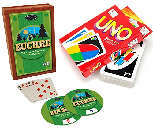 Classic Card Games Uno & Euchre Double Deluxe Set 2-Pack Family Fun Edition