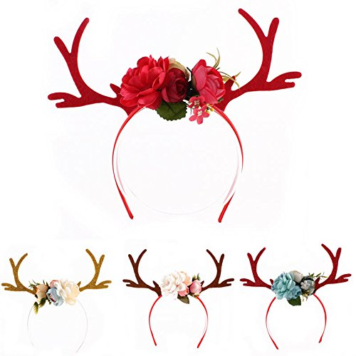 4 Style/Lot Xmas Decor DIY Women Girls Christmas Reindeer Deer Antlers Costume Ear Party Hair Headband
