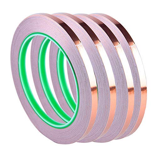 Copper Foil Tape 1/4in 22yards EMI Shielding Conductive Low Resistance Double-Sided Adhesive Tape,4 Pack .Perfect for Stained Glass Supplies Snail Slug Repellent Paper Circuit Electrical Repair
