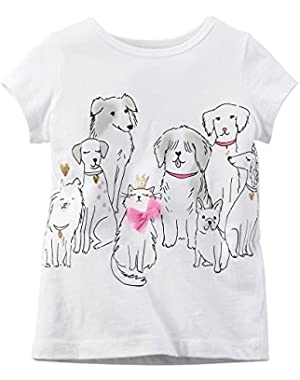 Girl's Cats & Dogs L/S Tee, White, 6m