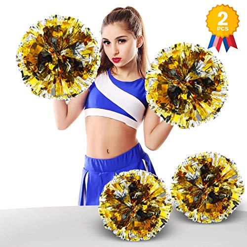 ANALAN 21 Colors Pack of 2 Foil Plastic Metallic Cheerleading Pom Poms for Cheer Sport Kids Adults(Gold and -
