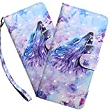 HMTECHUS Samsung A10E Case 3D Luxury Purple Wolf PU Leather Wallet Flip with Card Holder Kickstand Book Style Magnetic Cover Compatible with Samsung Galaxy A10E,Purple Wolf BX