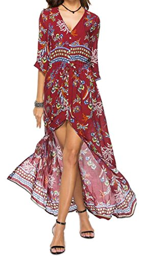 Womens Slit Dress Cromoncent Floral Front Maxi 4 3 Bohemian Print Neck Sleeve 3 V fqwqFg4
