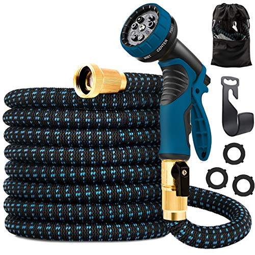 ANNOR Garden Hose 50ft Expandable Flexible Gardening Water Hose with 9 Function Spray Nozzle, Durable Car Wash Hose, Heavy Duty