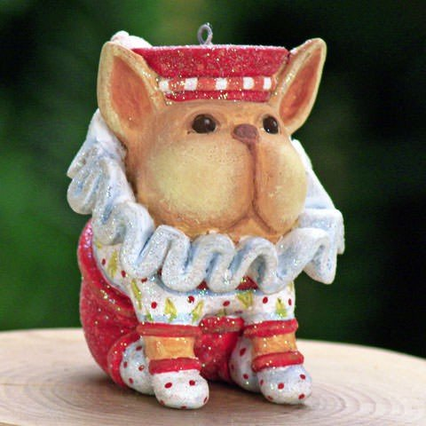 Patience Brewster Mini French Bulldog Christmas Figural Ornament 08-30408 ()