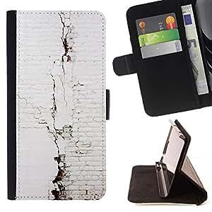 Momo Phone Case / Flip Funda de Cuero Case Cover - Pared de ladrillo Arquitectura Blanca - Samsung ALPHA G850