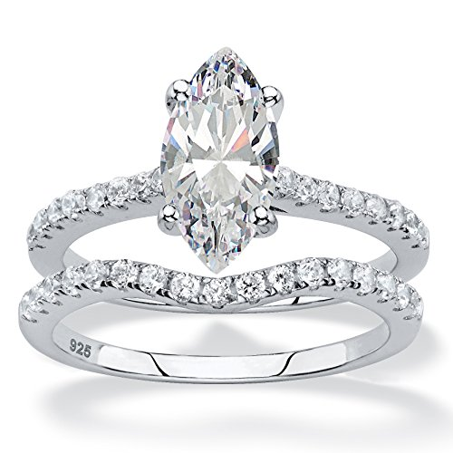 (Marquise-Cut White Cubic Zirconia Platinum over .925 Silver 2-Piece Bridal Ring Set Size 8)