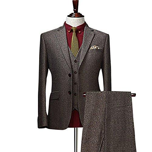 Solid Tan Khaki Brown Classic Vintage Tweed Herringbone Wool Blend Tailored Men Suit 3 -