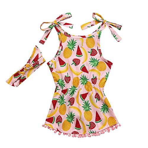 (Toddler Baby Girls Fruit Print Romper Jumpsuit with Headband Set Girls Summer Playsuit Clothes Outfits Clothes (18M, Multicolor#3))