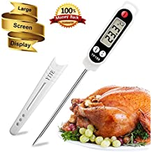 Meat thermometer -Digital food cooking thermometer Instant read thermometer Candy thermometer Kitchen barbecue thermometer for Meat Food Cooking Candy Kitchen Barbecue (white)