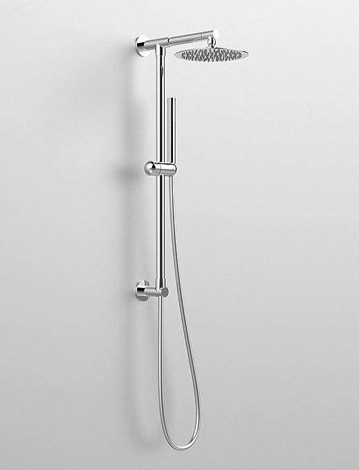 Columna de ducha redonda Divina, toma de agua superior, brazo de ...