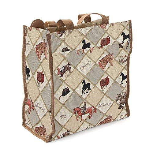 Bolso shopper para mujeres hecho en tela tapiz, diseñado por Signare Deporte Equino