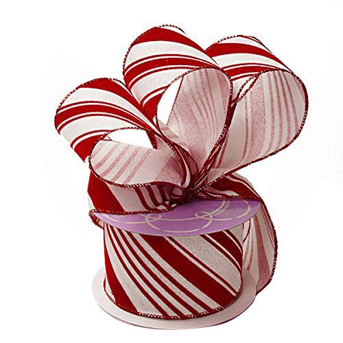 "Candy Cane Wired Christmas Ribbon - 2 1/2"" x 10 Yards, Red White Peppermint, Holiday, Garland, Gifts, Wrapping, Wreaths, Bows"
