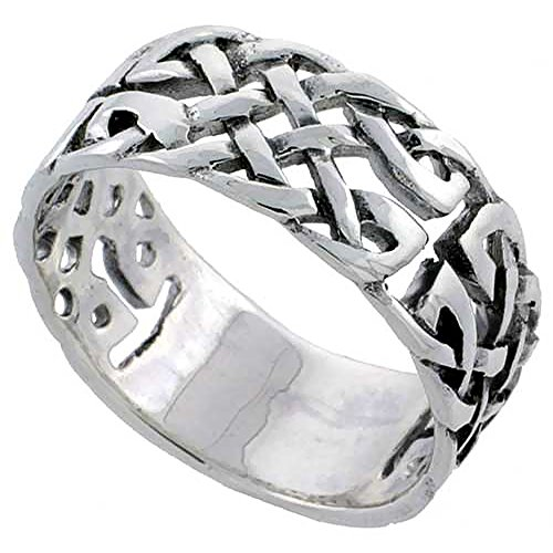 Sterling Silver Celtic Knot Ring Wedding Band Thumb Ring 3/8 inch sizes 6 – 10