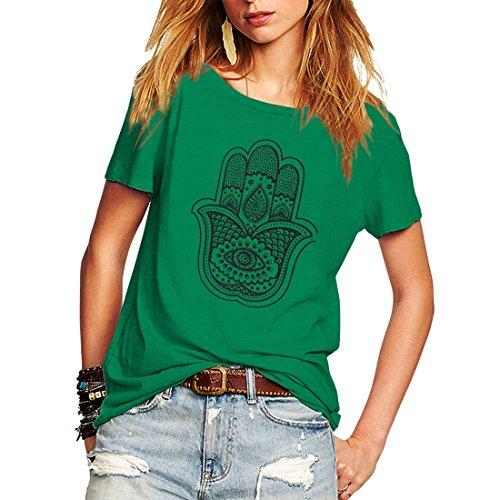 Weigou Woman T Shirt Short Sleeve Street Style Hand Printed T-Shirt Casual Junior Tops Tees (S, Green) (T-shirt 07 Womens)