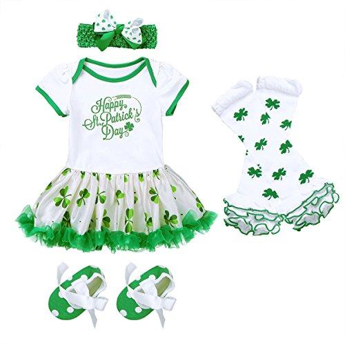 Freebily Baby Girls ST Patricks Day Outfit Shamrocks Green Party Costume Tutu Dress Irish Infant Baby Clothing Set White&Green 9-12 Months -