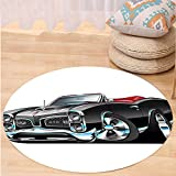 VROSELV Custom carpetCars Decor Fancy American Nostalgic Sports Muscle Car With Speeding Wheels Wealthy Tires...