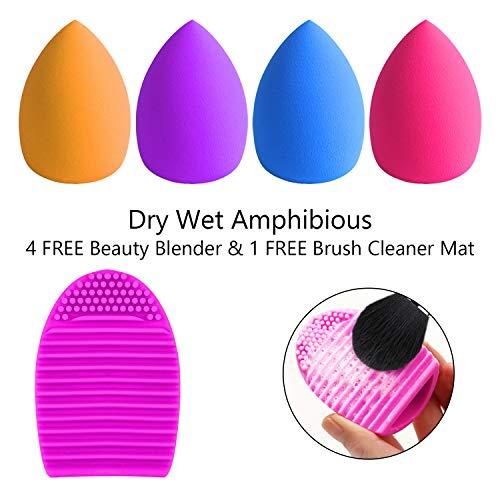 BESTOPE 16Pcs Makeup Brushes Set, 4Pcs Beauty Blender Sponge Set and 1 Brush Cleaner, Premium Synthetic Foundation Brushes Blending Face Powder Eye Shadows Make Up Brushes Kit 7