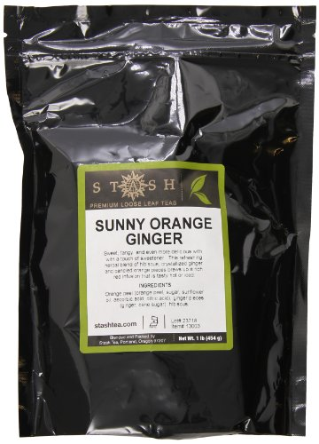Stash Tea Loose Leaf Ruby Orange Ginger 1 Pound Pouch Loose Leaf Premium Herbal Tea for Use with Tea Infusers Tea Strainers or Teapots, Drink Hot or Iced, Sweetened or Plain