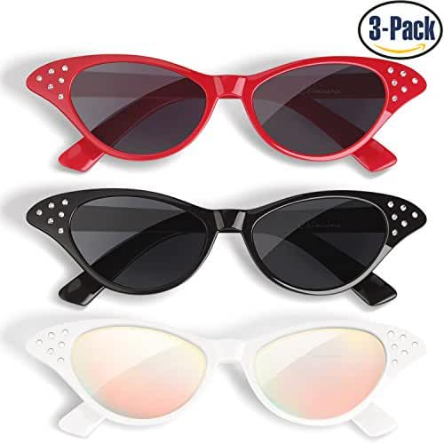 Cat Eye Sunglasses 3 Pack Elimoons 50s Glasses with Rhinestones Black/Red/White (Mirrored)