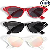 Cat Eye Sunglasses 3 Pack Elimoons 50s Glasses with Rhinestones Black/Red//White (Mirrored)