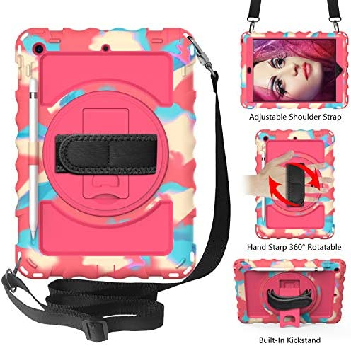 Mieziba for New iPad 10.2 2019 Case,iPad seventh Era Case,Heavy Obligation Shockproof Case with 360 Rotating Stand[Screen Protector][Pencil Holder][Shoulder Strap] Cowl for iPad 10.2 inch,Rose/Black