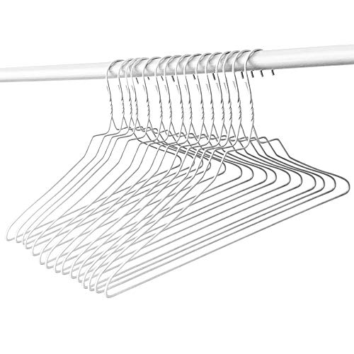 Wire Metal Hangers| Pack of 100 Hangers | White Vinyl Coated |Standard Size for Adults 18