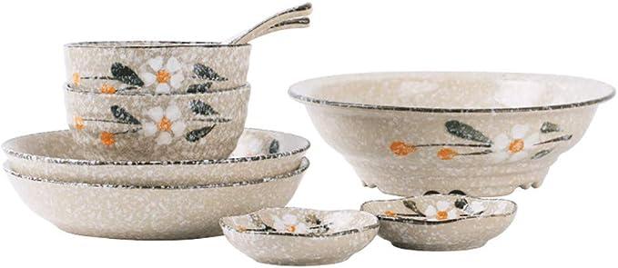 Juego de vajilla de cerámica para dos personas, juego de platos redondos de cerámica para postres de porcelana china: Amazon.es: Hogar