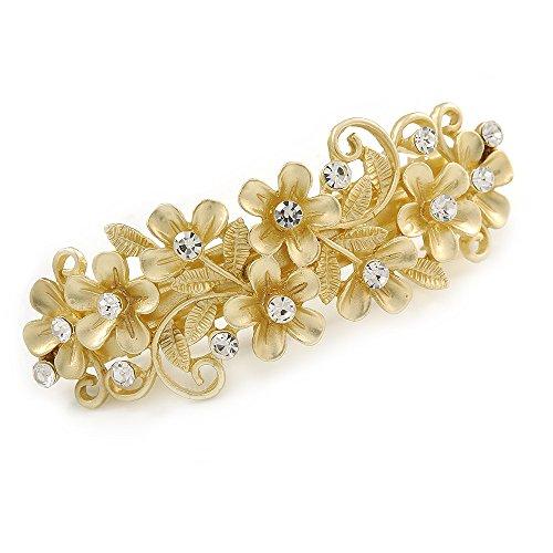 Avalaya Bright Gold Tone Matt Diamante Daisy Flower Barrette Hair Clip Grip - 80mm Across