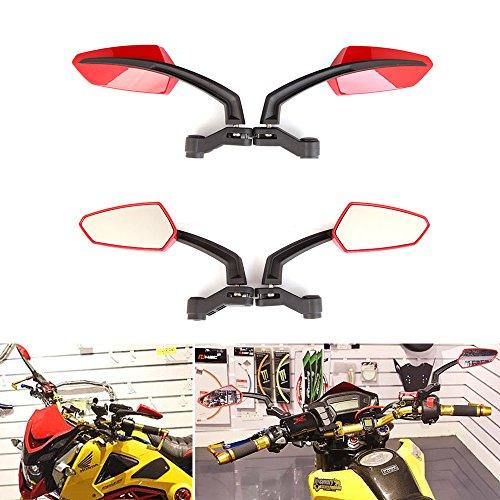 10mm Universal Motorcycle mirrors for 2014-2017 Honda GROM MSX 125 Yamaha Kawasaki (Red)