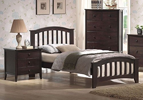 1PerfectChoice San Marino Twin Kids Youth Bed Matching Night Stand Drawers Dark Walnut by 1PerfectChoice